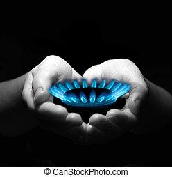 essence, dans, mains