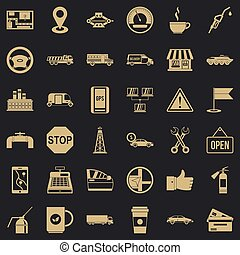 essence, ensemble, style, icônes simples
