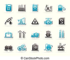 essence, industrie, huile, icônes