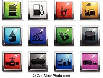 essence, industrie, huile, objets, icônes