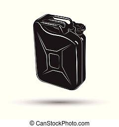 essence, monochrome, icône, boîte métallique