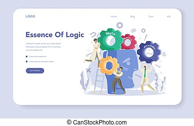 Essence of logic web banner or landing page set. Scientist ...