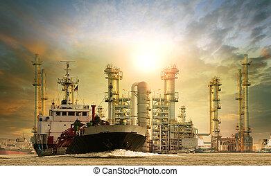 essence, pétrole, récipient bateau, lpg