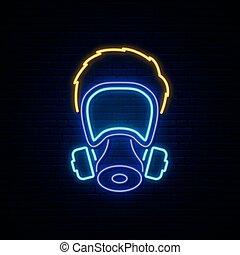 essence, signe., homme, néon, masque
