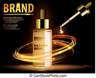 Essence translucent contained, ads, gold makeup glass bottle template. Design cosmetics product for advertising with fire rings on dark background. 3d Vector illustration for cream, essence, lotion.