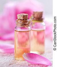 essencial, aromatherapy., spa, rosa, óleo