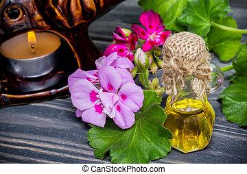 essencial, geranium, óleo