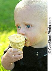 essende, eis, unordentlich, kegel, baby, creme