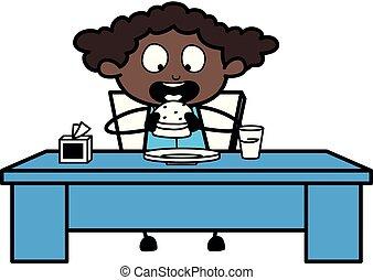 essende, fast-food, buero, -, abbildung, vektor, schwarz, retro, m�dchen, karikatur