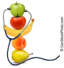 essende, gesunde, concept., fruechte, vector., stethoscope.