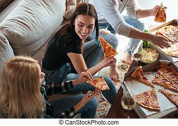 essende, haus, ansicht, friends, seite, pizza