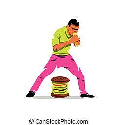 essende, illustration., lebensmittel, athlet, schnell, vektor, karikatur