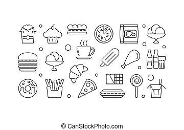 essende, illustration., lebensmittel, schnell, vektor, banner, ungesund