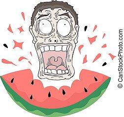 essende, verrückt, wassermelone, gesicht