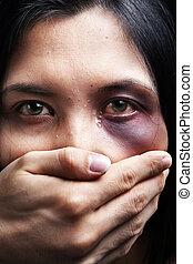 essendo, abusato, donna, rapito