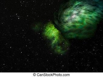 essendo, interpretazione, splendere, nebula., 3d