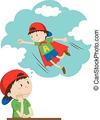 essendo, ragazzo, daydreaming, superhero