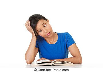 essendo, studiare, scrivania, donna, stanco