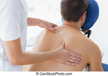 essendo, terapeuta, paziente, femmina, massaggiato