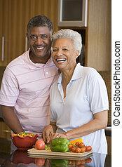 essenszeit, ehefrau, ehemann, vorbereiten, zusammen, ...