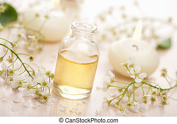 essentiële olie, en, bloemen