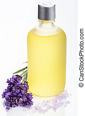 essentiële olie, en, lavendel, bloemen, op, witte