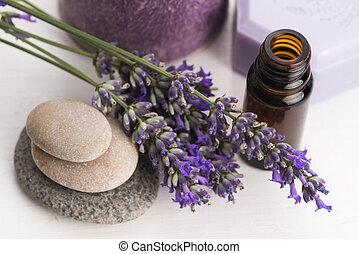 essentiële olie, en, lavendel, bloemen