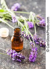 essentiële olie, en, lavendel, flowers.