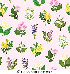 Essential flowers seamless pattern