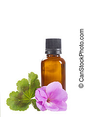 Essential geranium oil in bottle and  flowers