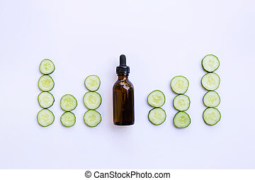 Essential oil bottle with cucumber Aromatherapy
