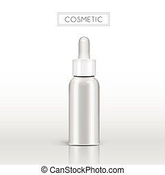 Essential oil glass bottle, 3d illustration realistic