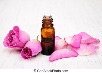 essential oil in glass bottle
