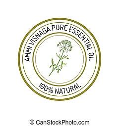 Essential oil label - Ammi visnaga, essential oil label, ...