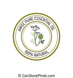 Essential oil label - Anise, essential oil label, aromatic ...