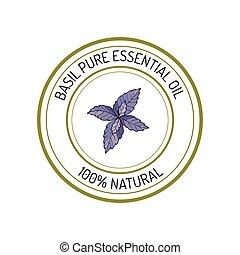 Essential oil label - Basil, essential oil label, aromatic ...