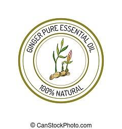 Essential oil label - Ginger, essential oil label, aromatic ...