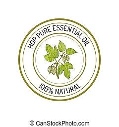 Essential oil label - Hop, essential oil label, aromatic ...