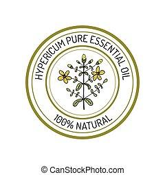 Essential oil label - Hypericum, essential oil label, ...