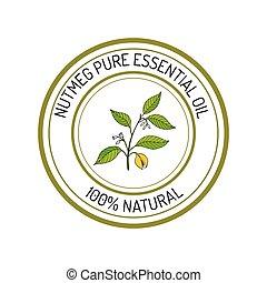 Essential oil label - Nutmeg, essential oil label, aromatic ...