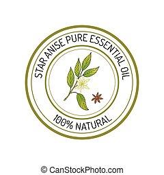 Essential oil label - Star anise, essential oil label, ...