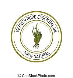 Essential oil label - Vetiver, essential oil label, aromatic...