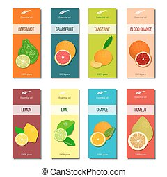 Essential oil labels set. Bergamot, lemon, grapefruit, lime, mandarin, pomelo, orange, blood orange 8 stripes collection For cosmetics perfume health care products aromatherapy
