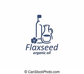 Essential oil of linseed in the glass bottle and jug logo design. Flax seed oil and flax flower vector design. Flaxseed logotype
