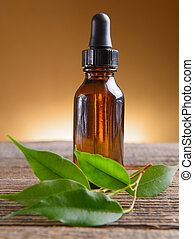 Essential oil - Pure organic essential oil in amber glass ...