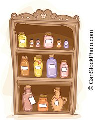 Essential Oil Shelf - Illustration of a Wooden Shelf Filled ...