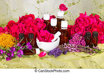 Essential oil with roses and herbs