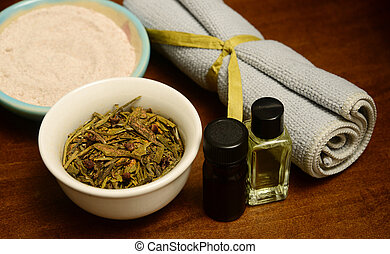 essential oils and herbs for spa treatment