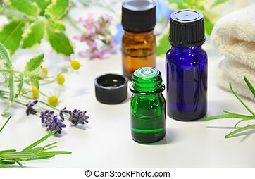 essential oils for aromatherapy treatment with herbs