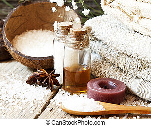 Essential Oils Spa Setting.Aromatherapy Settlement